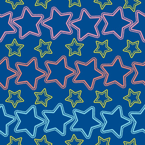Colorful stars with dots