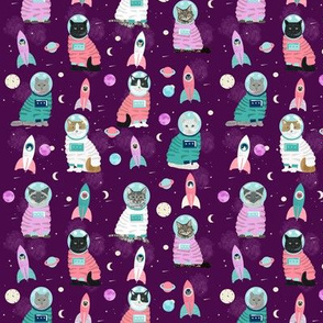 SMALL - space cats fabric // cat cats design cute cats kittens kitty design - purple
