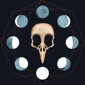 Raven Skull with Moon Phases
