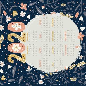 2020 calendar dark blue tea towel