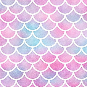 Magical Mermaid Scales Pattern on Watercolor