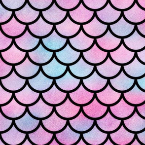Magical Mermaid Scales Pattern in Watercolor on Black