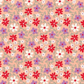 Crazy Daisies in Pink Red Sage Green and Purple