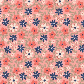 Crazy Daisies in Coral Navy Sage Green and Pink