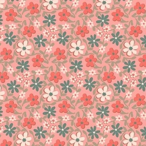 Crazy Daisies in Coral Green and Pink