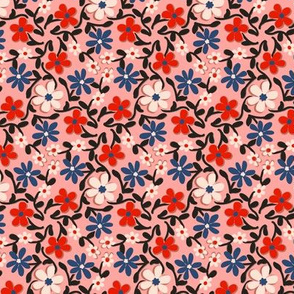 Crazy Daisies in Red Navy Pink and Black