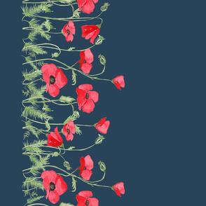 BecW_Field of Poppies_Borderprint_Navy