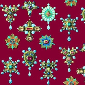 flowers floral crosses crucifixes hearts  gold pearls gems jewels ruby rubies Sapphire Versace Hermes Chanel inspired baroque gaudy brooches pendants rings jewelry jewellery precious stones vintage retro antiques Victorian maroon dark red blue yellow