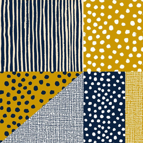 Spots and stripes quilt gold navy by Mount Vic and Me