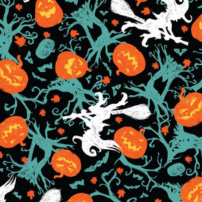 Halloween sketch black colourful repeat pattern