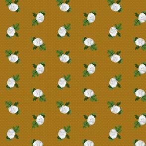 White Rose Mustard Dots