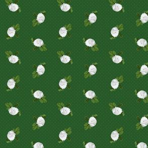 White Rose Dark Green Dots