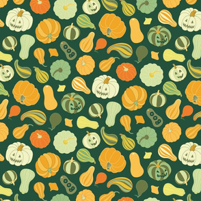 Halloween Pumpkins and Squash in dark green