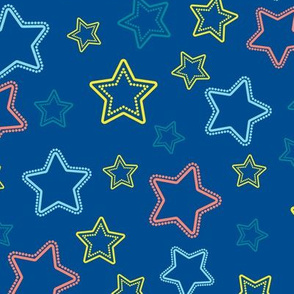 Multicolor stars silhouettes with dotted border over blue
