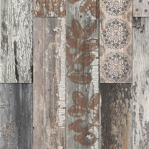 Vintage Wood Tiles Random Grey Brown