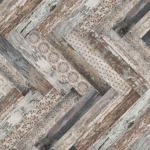 Vintage Wood Chevron Tiles Herringbone  Grey Brown Horizontal