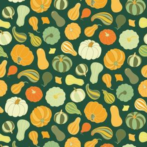 Pumpkins and Squash dark green by Pippa Shaw
