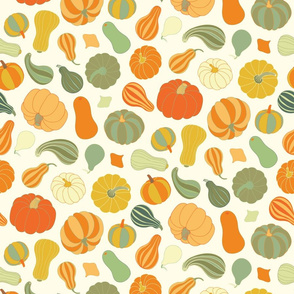 Pumpkins and Squash orange and green