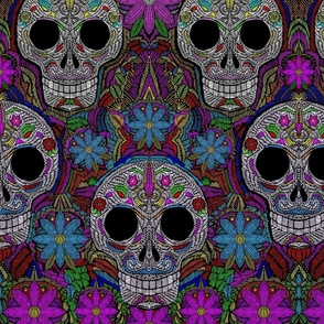 Day of the Dead embroidered Halloween floral
