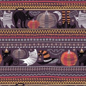 Embroidery Halloween // small scale // black cats orange yellow pumpkins white ghosts and grey stitches on purple beet background