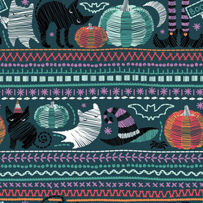 Embroidery Halloween // normal scale // black cats orange aqua and teal pumpkins white ghosts and purple stitches on green background