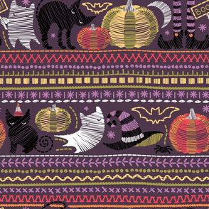 Embroidery Halloween // normal scale // black cats orange and green pumpkins white ghosts and purple stitches on purple beet background
