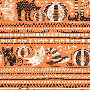 Monochromatic embroidery Halloween // normal scale // black and white pumpkins ghosts cats and stitches on orange background