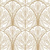 Art Deco Autumn Oak Leaf in Bronze