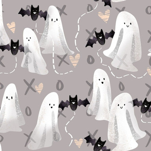 Sweet Ghosts and Bats - on Gray xoxo