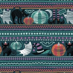 Embroidery Halloween // small scale // black cats orange aqua and teal pumpkins white ghosts and purple stitches on green background