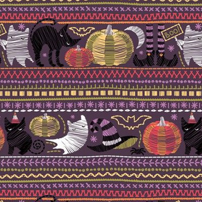 Embroidery Halloween // small scale // black cats orange and green pumpkins white ghosts and purple sticthes on purple beet background