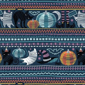 Embroidery Halloween // small scale // black cats orange and teal pumpkins white ghosts and purple stitches on teal background