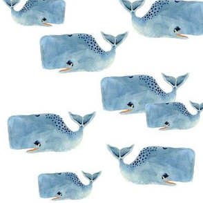 Whale Pod in Blue - Medium Size