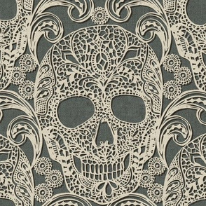 Lace Skulls {Grey} -large