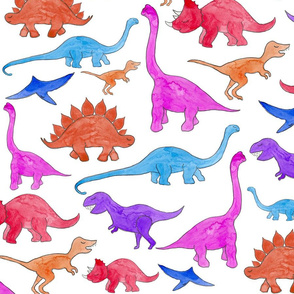 Rainbow Dinos White Ground (Larger Scale)