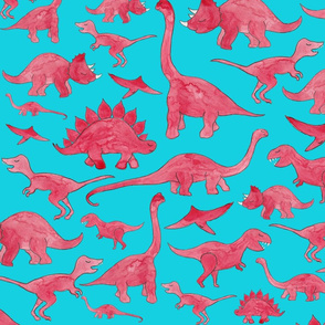 Red Dinosaurs (Larger Scale)