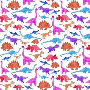 Rainbow Dinosaurs White Ground (Smaller Scale)