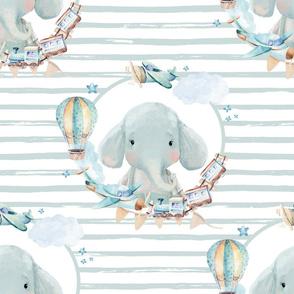 "21"" Baby Boy Elephant with Toys Blue Stripes"