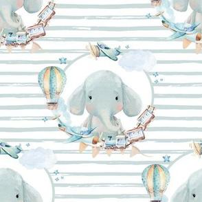 "8"" Baby Boy Elephant with Toys Blue Stripes"