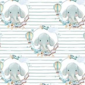 "4"" Baby Boy Elephant with Toys Blue Stripes"