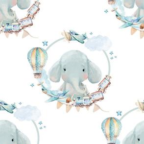 """21"""" Baby Boy Elephant with Toys  White Back"""