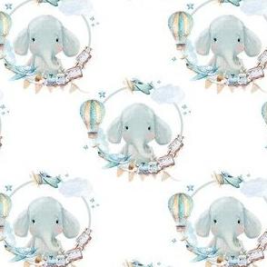 """4"""" Baby Boy Elephant with Toys  White Back"""