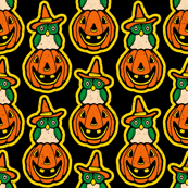 Witch Owl on a Pumpkin