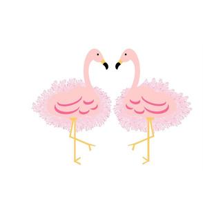 Fringy  pink flamingo pair  - XL 195x167