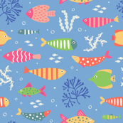 Multicolored Pretty Fish on Blue
