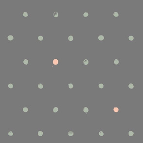 batik polka dots - half inch, green-peach-grey