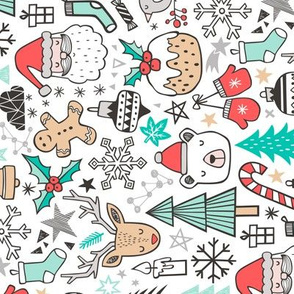 Xmas Christmas Winter Doodle with Snowman, Santa, Deer, Snowflakes, Trees, Mittens Rotated