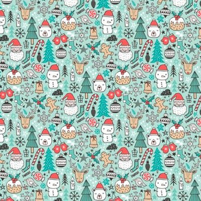 Xmas Christmas Winter Doodle with Snowman, Santa, Deer, Snowflakes, Trees, Mittens on Mint Green Smaller Tiny