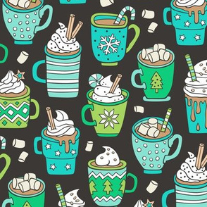 Hot Winter Christmas Drinks with Marshmallows Mint & Green On Black