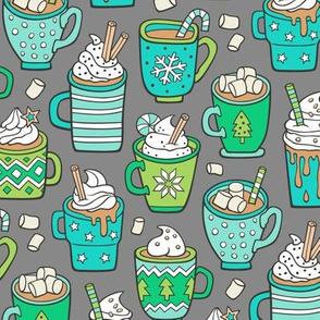Hot Winter Christmas Drinks with Marshmallows Mint & Green on Grey